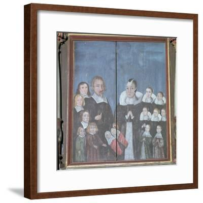 Norwegian painting showing a family with fourteen children, 17th century. Artist: Unknown-Unknown-Framed Giclee Print