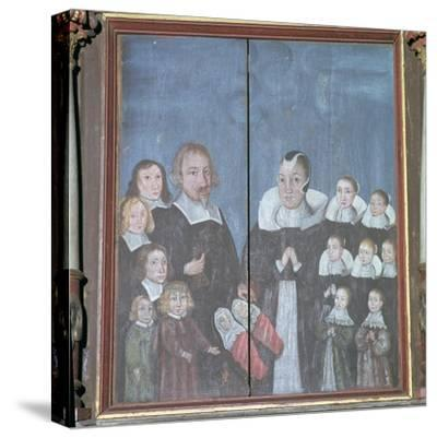 Norwegian painting showing a family with fourteen children, 17th century. Artist: Unknown-Unknown-Stretched Canvas Print