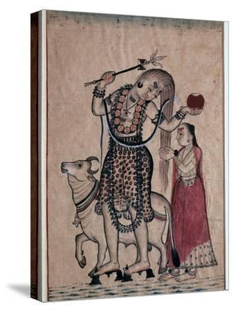 Siva with the bull, Nandi, followed by his consort Parvati, 18th century. Artist: Unknown-Unknown-Stretched Canvas Print