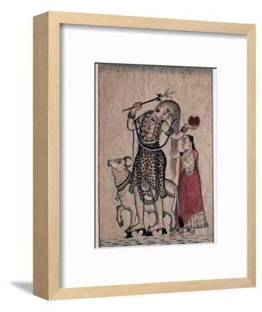 Siva with the bull, Nandi, followed by his consort Parvati, 18th century. Artist: Unknown-Unknown-Framed Giclee Print