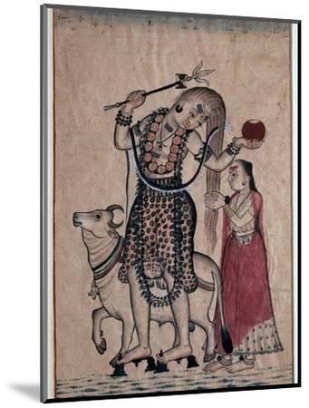 Siva with the bull, Nandi, followed by his consort Parvati, 18th century. Artist: Unknown-Unknown-Mounted Giclee Print