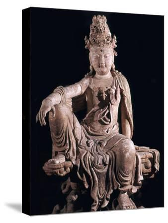 Chinese statuette of Kuan-Yin as a Bodhisattva, 12th century. Artist: Unknown-Unknown-Stretched Canvas Print