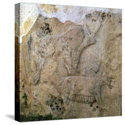Sow-and-piglets relief from Malta. Artist: Unknown-Unknown-Stretched Canvas Print