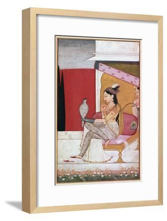 Punjabi illustration of a lady with a hawk. Artist: Unknown-Unknown-Framed Giclee Print