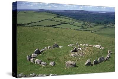 View of Cairn S in the Loughcrew hills, 36th century BC. Artist: Unknown-Unknown-Stretched Canvas Print
