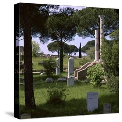 Remains of the temple of Ceres in the Roman port of Ostia, 1st century. Artist: Unknown-Unknown-Stretched Canvas Print