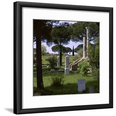 Remains of the temple of Ceres in the Roman port of Ostia, 1st century. Artist: Unknown-Unknown-Framed Photographic Print
