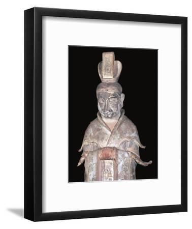 Earthenware Chinese figure of a tomb attendant, 7th century. Artist: Unknown-Unknown-Framed Giclee Print