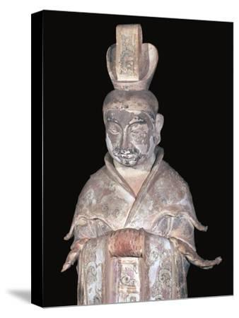 Earthenware Chinese figure of a tomb attendant, 7th century. Artist: Unknown-Unknown-Stretched Canvas Print