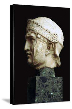 Helmeted head of a Roman soldier, c.1st century. Artist: Unknown-Unknown-Stretched Canvas Print