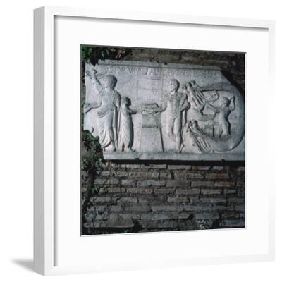 Roman relief of a haruspex, 3rd century. Artist: Unknown-Unknown-Framed Giclee Print