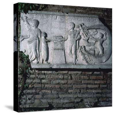 Roman relief of a haruspex, 3rd century. Artist: Unknown-Unknown-Stretched Canvas Print