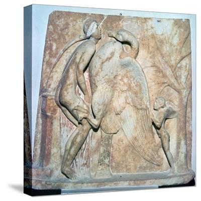 Roman relief of Leda and the Swan, 1st century. Artist: Unknown-Unknown-Stretched Canvas Print