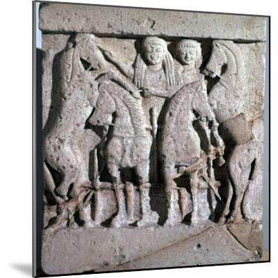 Archaic metope of Apollo and Artemis, 6th century. Artist: Unknown-Unknown-Mounted Giclee Print