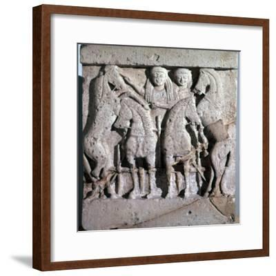 Archaic metope of Apollo and Artemis, 6th century. Artist: Unknown-Unknown-Framed Giclee Print