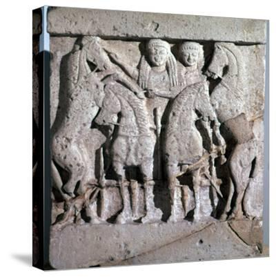 Archaic metope of Apollo and Artemis, 6th century. Artist: Unknown-Unknown-Stretched Canvas Print
