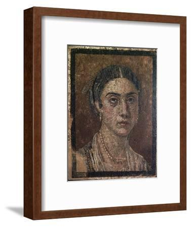Portrait of a woman from a Roman floor mosaic, 1st century. Artist: Unknown-Unknown-Framed Giclee Print