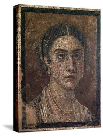 Portrait of a woman from a Roman floor mosaic, 1st century. Artist: Unknown-Unknown-Stretched Canvas Print