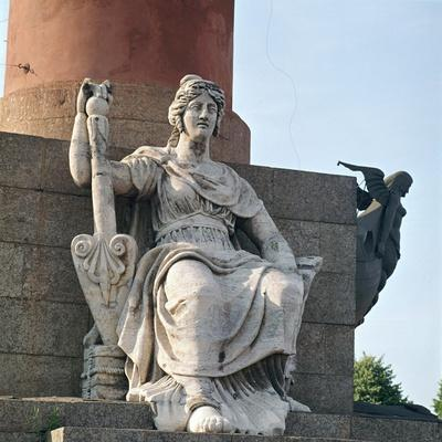 Figure at the base of the Rostral Pillar on Vassilievsky Island. Artist: Unknown-Unknown-Framed Giclee Print