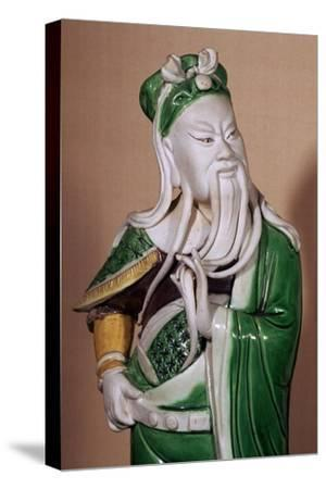 Chinese statuette of the god Kuan-ti, 17th century. Artist: Unknown-Unknown-Stretched Canvas Print