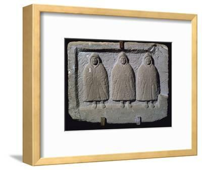 Stone relief of a trio of hooded Romano-British deities, 3rd century. Artist: Unknown-Unknown-Framed Giclee Print