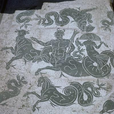 Roman floor mosaic showing Neptune, 3rd century. Artist: Unknown-Unknown-Framed Giclee Print