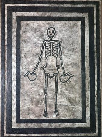 Roman mosaic of a skeleton, 1st century. Artist: Unknown-Unknown-Framed Giclee Print