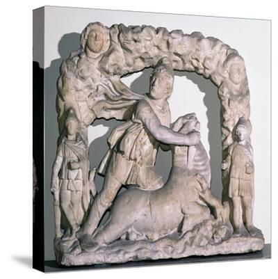 Roman statuette of Mithras slaying the bull, 3rd century. Artist: Unknown-Unknown-Stretched Canvas Print