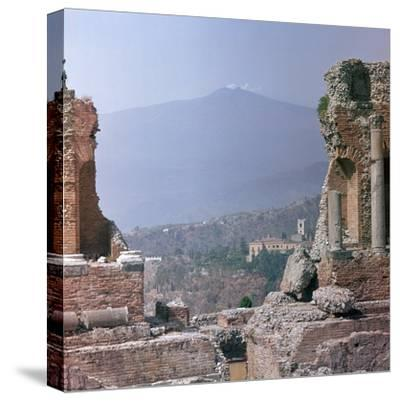 Ancient Greek theatre in Sicily, 1st century. Artist: Unknown-Unknown-Stretched Canvas Print