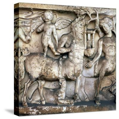 Roman depiction of a centaur in a Bacchic procession, 2nd century. Artist: Unknown-Unknown-Stretched Canvas Print