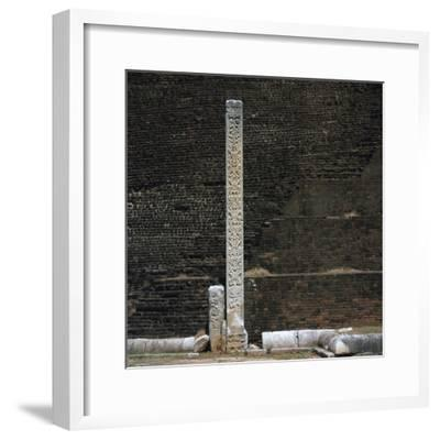 A stele in front of the Dakhina Stupa, 2nd century. Artist: Unknown-Unknown-Framed Giclee Print