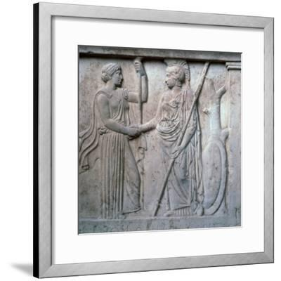 Relief of Hera and Athena clasping hands, 5th century BC. Artist: Unknown-Unknown-Framed Giclee Print