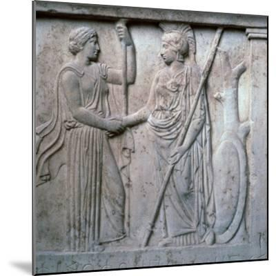Relief of Hera and Athena clasping hands, 5th century BC. Artist: Unknown-Unknown-Mounted Giclee Print