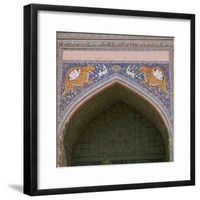 Detail of the façade of Shir-Dar Madrasa in Samarkand, 17th century. Artist: Unknown-Unknown-Framed Photographic Print