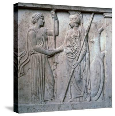 Relief of Hera and Athena clasping hands, 5th century BC. Artist: Unknown-Unknown-Stretched Canvas Print