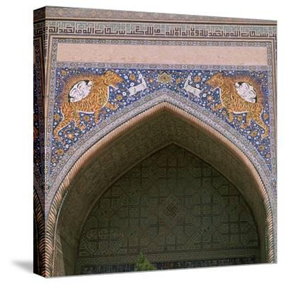 Detail of the façade of Shir-Dar Madrasa in Samarkand, 17th century. Artist: Unknown-Unknown-Stretched Canvas Print