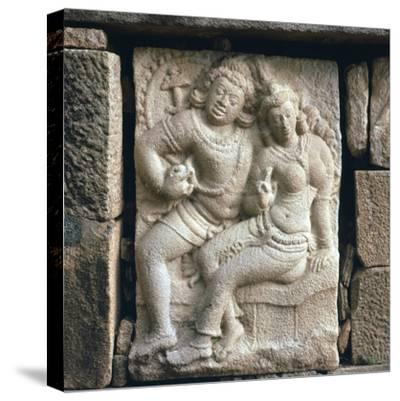 Relief of 'lovers' at Isurumuni in Sri Lanka, 4th century. Artist: Unknown-Unknown-Stretched Canvas Print