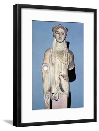 Greek statue Kore 674 from the Acropolis, 6th century BC. Artist: Unknown-Unknown-Framed Giclee Print