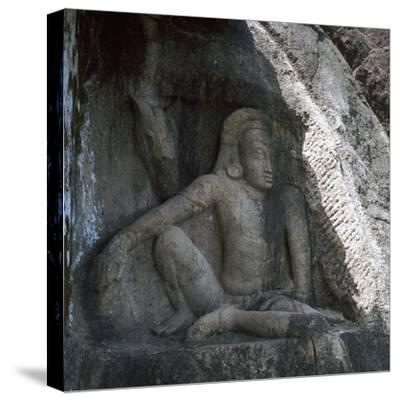 Sri Lankan carving of Anuradhapura Parjanya and his horse Agni, 6th century. Artist: Unknown-Unknown-Stretched Canvas Print