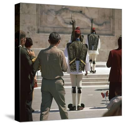 Shot of the Ezvones at the Tomb of the Unknown Soldier. Artist: Unknown-Unknown-Stretched Canvas Print