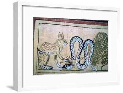 Egyptian papyrus of the cat of Ra killing Apophis the snake of evil. Artist: Unknown-Unknown-Framed Giclee Print