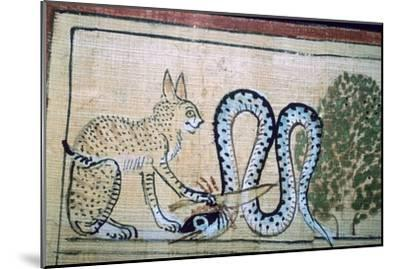 Egyptian papyrus of the cat of Ra killing Apophis the snake of evil. Artist: Unknown-Unknown-Mounted Giclee Print