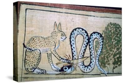 Egyptian papyrus of the cat of Ra killing Apophis the snake of evil. Artist: Unknown-Unknown-Stretched Canvas Print