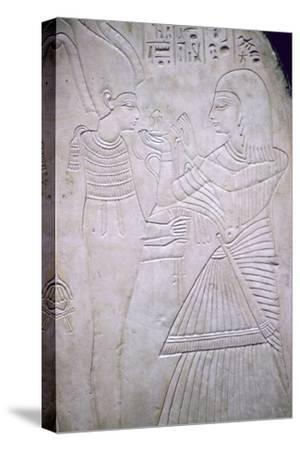 Egyptian relief of Amon making an offering to Osiris. Artist: Unknown-Unknown-Stretched Canvas Print