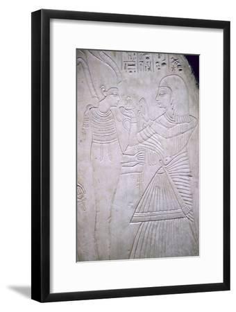 Egyptian relief of Amon making an offering to Osiris. Artist: Unknown-Unknown-Framed Giclee Print