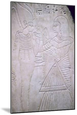 Egyptian relief of Amon making an offering to Osiris. Artist: Unknown-Unknown-Mounted Giclee Print