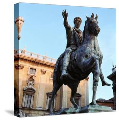 Equestrian statue of Marcus Aurelius, 2nd century. Artist: Unknown-Unknown-Stretched Canvas Print