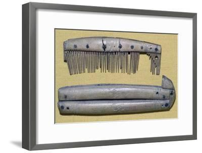 Viking Bone Comb and Comb Case. Artist: Unknown-Unknown-Framed Giclee Print