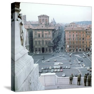 Piazza Venezia from monument of Victor Emmanuel II of Italy, 19th century Artist: Unknown-Unknown-Stretched Canvas Print