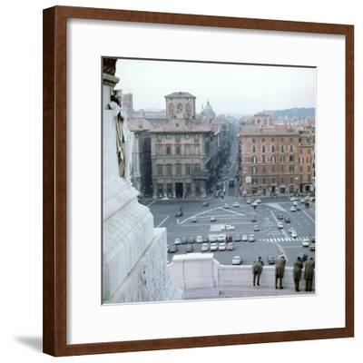 Piazza Venezia from monument of Victor Emmanuel II of Italy, 19th century Artist: Unknown-Unknown-Framed Photographic Print